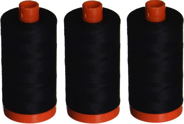 Aurifil A1050-2692 Mako Cotton Las Austin Mall Vegas Mall Thread Black 50WT 1422Yds Solid