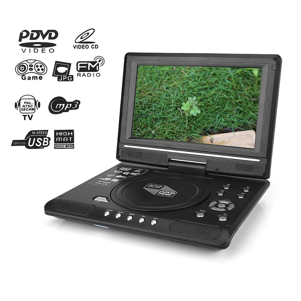 Oumij1 Reproductor Portátil DV TV, Reproductor Multimedia para Juegos, HD Pantalla LCD de 9.8 Reproductor de DVD Reproductor de TV para Juegos Receptor de Radio FM con Enchufe de EE. UU./UE(UE):