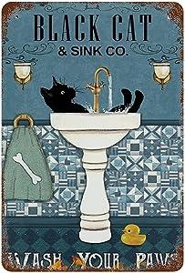 Larkverk Black Cat Wash Your Paws Retro Tin Sign Vintage Bathroom Metal Sign for Home Bar Office Wall Decor Shop Mural Sign 12 x 8 in