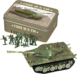 WESTMINSTER INC. Battery Operated Tank in A Tin with 12 Green Army Men for Battle Play