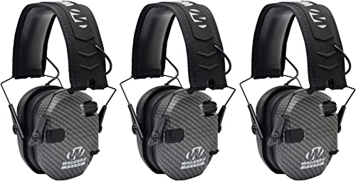 Walkers Razor Slim Electronic Shooting Muffs 3 Pack Bundle Carbon Gray 3 Items