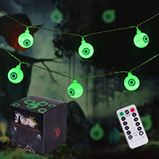 30 LED Eyeball String Lights, 8 Modes Waterproof Halloween String Lights, Battery Operated Lights for Outdoor and Indoor Garden, Yard, Home, Party, Halloween Decoration (Green)