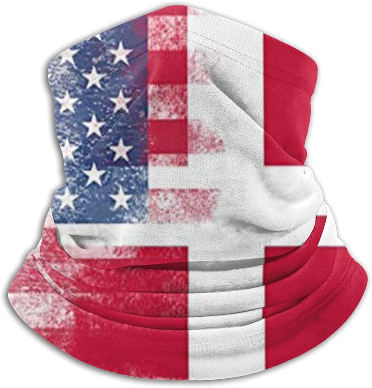 Vintage danish american flag unisex winter neck gaiter face cover mask, windproof balaclava scarf for fishing, running & hiking