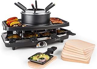 Klarstein Entrecôte - Raclette, Fondue, Grill de table électrique, 1100 W, Pour 8 personnes, 8 poêlons, Grill amovible ave...