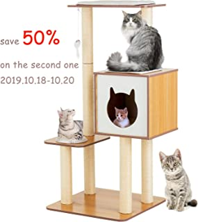 SUNCOO 47 Inch Wooden Cat Tree, Modern Cat Furniture, Kitten Activity Climbing Tower, Pets House with Removable and Washable Mats, Multi-Level Scratching Post, Cube Cave Enclosure Condo