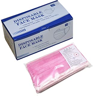 100 pcs Disposable three Layer Face Protection Surgical Hygiene Dental Dust Smog Cleaning (Pink 50pcs)