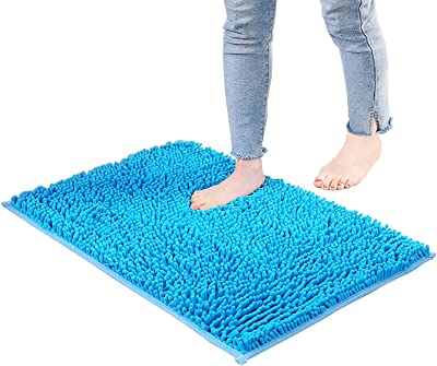 Alfombras De Baño Azules, Estera De Baño De Chenilla, Ultra Suave Sin Deslizamiento Y Alfombra De Baño De Microfibra Absorbente(Size:60×90cm)
