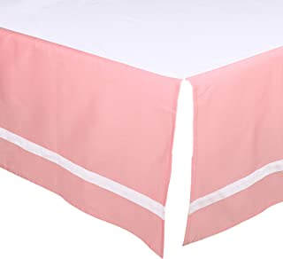 Coral Pink Tailored Crib Dust Ruffle with White Stripe by The Peanut Shell