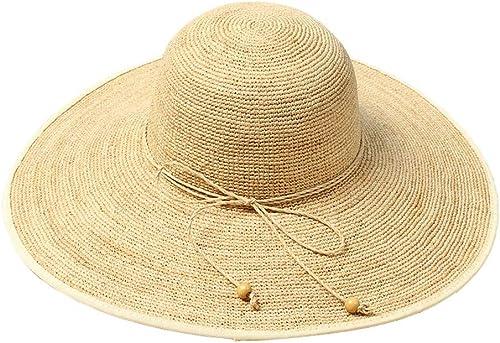 Liangliang Sommerstrandhut-Sonnenhut-Blende des Natürlichen Lafite-Hutes Weißlicher Faltbarer Kühler Hut