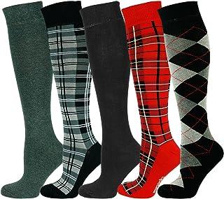 Rodilla alta calcetines comprobar diseño Algodón Penteado Extra Fino
