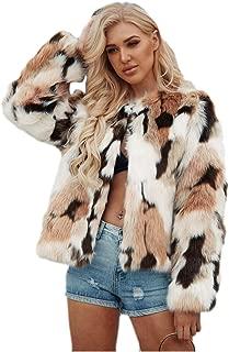 Dawwoti Women's Faux Fur Short Coat Fleece Long Sleeve Casual Chunky Peacoat for Winter New Year
