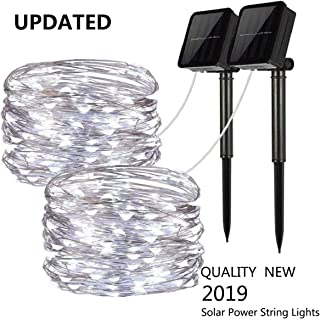Upgraded Solar Powered String Lights, 2 Pack 8 Modes 100 LED Solar Fairy Lights Waterproof 33ft Silver Wire Lights Outdoor Garden String Lights for Home Patio Yard Party Decorat(100 LED, Cool White)