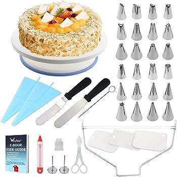 WisFox Cake Turntable, Torta Giratoria, Decoración de Pasteles 24 Boquillas Torta giratoria, 2 Piezas Espátula de formación de Hielo, Bolso de pastelería, Sirope de Torta, Cortador, Flor Levantador