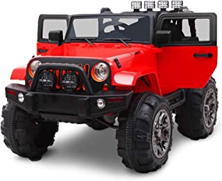 BIG TOYS DIRECT Kids 12V Battery Powered Ride On Truck with Full Doors and Big Wheels Plus Remote Control - Red