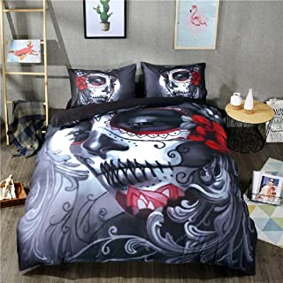 APJJQ Christmas Skull Duvet Cover Set King Dead Hair Sugar Skull Lady with Roses in Retro Ink Style Design Print Decorative 3 Piece Bedding Set with 2 Pillow Shams Red Black White