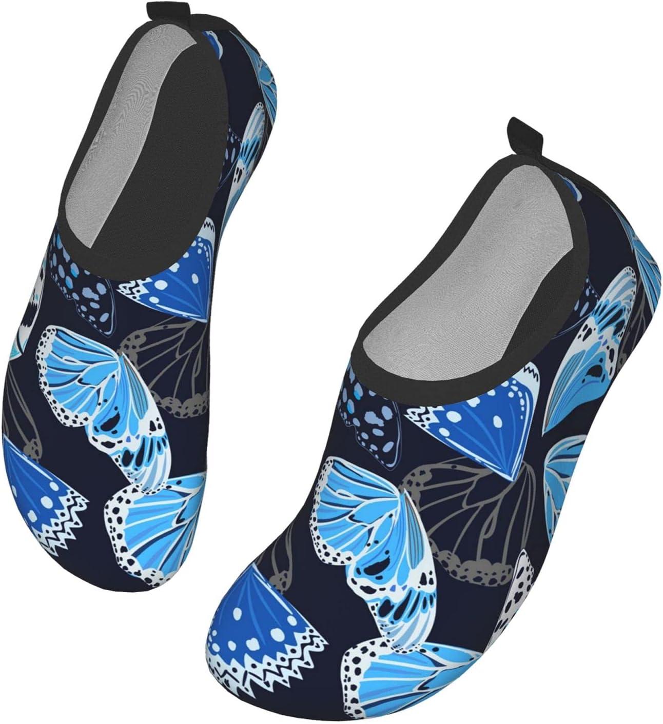 NA Blue Petal Pattern Men's Women's Water Shoes Barefoot Quick Dry Slip-On Aqua Socks for Yoga Beach Sports Swim Surf