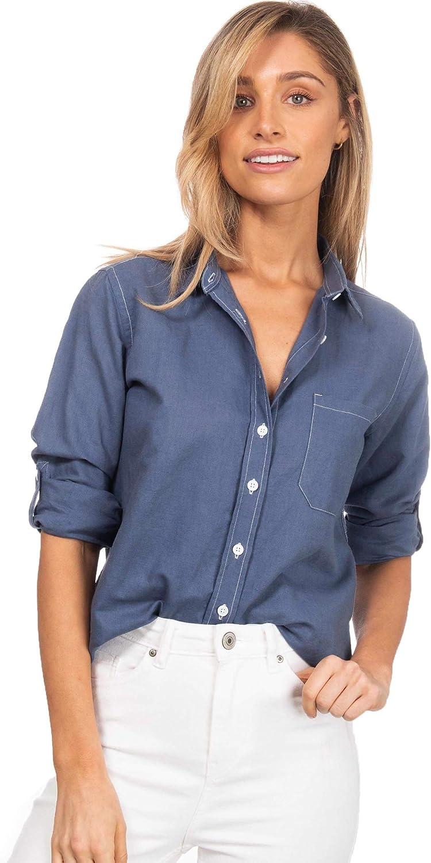 CAMIXA Womens Linen Shirts Blouses Work Casual Tops Loose Button Down