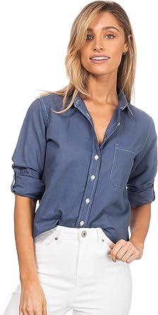 CAMIXA Camisa de Mujer Lino y Algodón con Bolsillo Blusa Túnica Suave Top Fresco