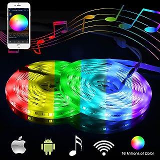 LEDテープ スマート音楽LEDテープライト 高輝度 防水IP65 正面発光 SMD5050 10M 300連 カラー選択可能 24キーリモコン操作 12V/5A電源Android/iOS System/Alexa/IFTTT/Google Assistantに対応