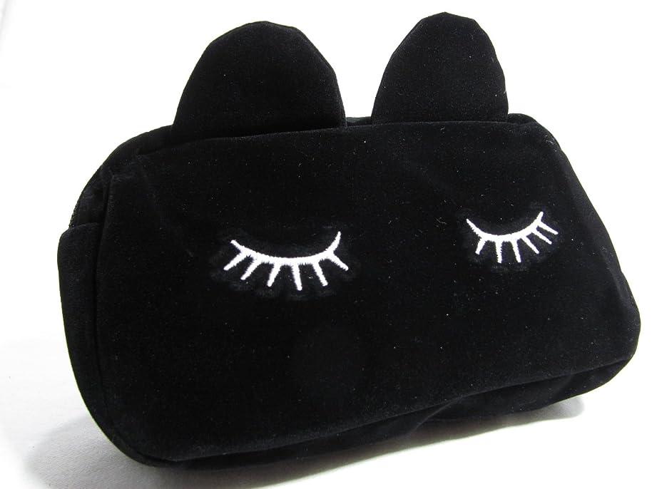 疑い者ルビー例外【560kick】 かわいい 猫 耳 ポーチ ベルベット調 メイクグッズ 収納 (黒)