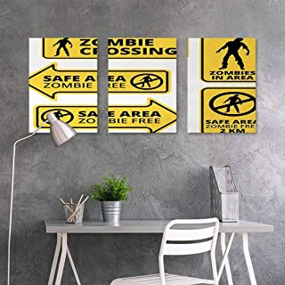Oil Painting Modern Wall Art Posters Sticker,Zombie,Safe Area Zombie Free Safe Protection Zone Caution Sign from Horror Movie Design,On Canvas Abstract Artwork 3 Panels,16x31inchx3pcs,Yellow Black