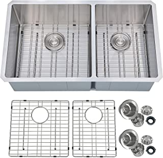 PRIMART PHU33DO Handcrafted 33 X 19 Inch 60/40 Double Bowls 16 Gauge Undermount Stainless Steel Kitchen Sink w/Bottom Grid Sink Strainer