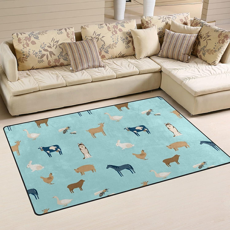 Cute Houston Mall Farm Animals Large Soft Area Rug Mat Direct stock discount f Playmat Nursery Rugs