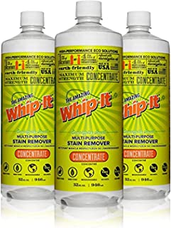 Whip-It Multi-Purpose Stain Remover - 3 Pack - 32oz Concentrate - Plant-Based With All 6 Enzymes - All Natural - Made In USA