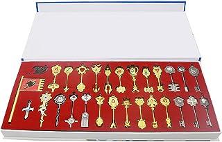Mesky Fairy Tail Llaveros 29 Piezas con Caja Aleación Cosplay Disfraz con Accesorios Regalo y Colección de Videojuego Hombres y Mujeres Llavero para Llaves y Coches
