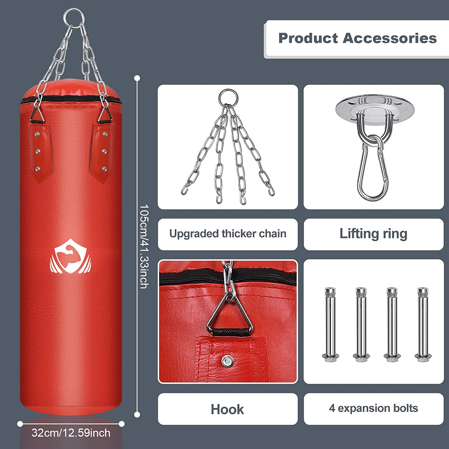 BOBUEXER Boxing Suspension Heavy Bag -35LBS Heavy Punch Bag TTwo Colors to Choose from -MMA Thai Boxing Training Good Choice Taekwondo Family Child and Adult Interactive Partner.