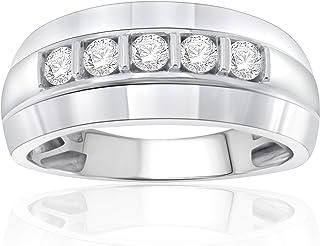 خاتم زفاف من الألماس عيار 1/2 قيراط من NATALIA DRAKE للرجال من الفضة الإسترلينية المطلية بالروديوم (لون H-I/وضوح I1-I2)