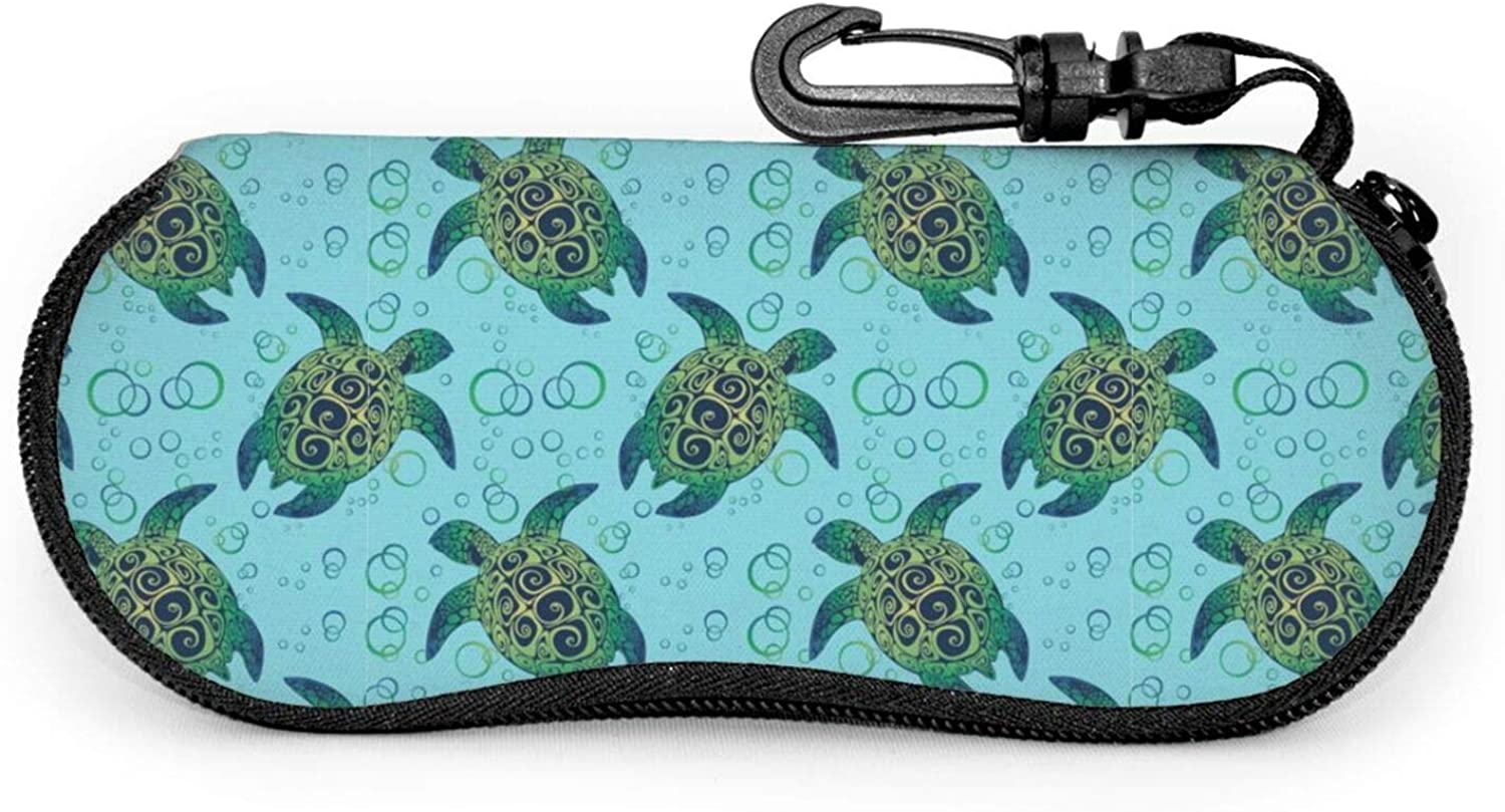 Sunglasses Case Sea Turtle Zipper Glasses Eyeglass Case with Clip on for Girls