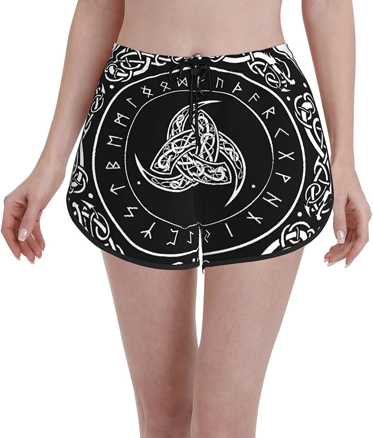 Minalo Women's Girl's Swim Trunks,Gothic Triple Horn of Odin Decorated Scandinavic Ornaments and Runes Norse Amulet,Beachwear Swimsuits Board Shorts Bathing Suits,XXL