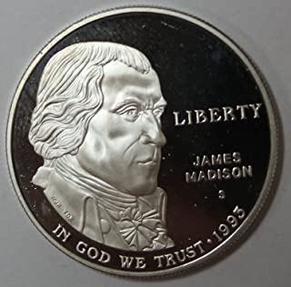 1993 S James Madison Silver Commemorative Dollar $1 Proof