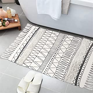 Tufted Cotton Area Rug 2' x 3', KIMODE Woven Fringe Throw Rugs Print Tassel Rugs Carpet Modern Geometric Welcome Door Mat Machine Washable Floor Runner Rug for Porch Kitchen Bathroom Living Room