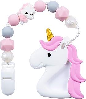 Kids Heroes Mordedera de Unicornio para Aliviar el Dolor en las Encías del Bebe Causado por la Dentición con Porta Chupón ...