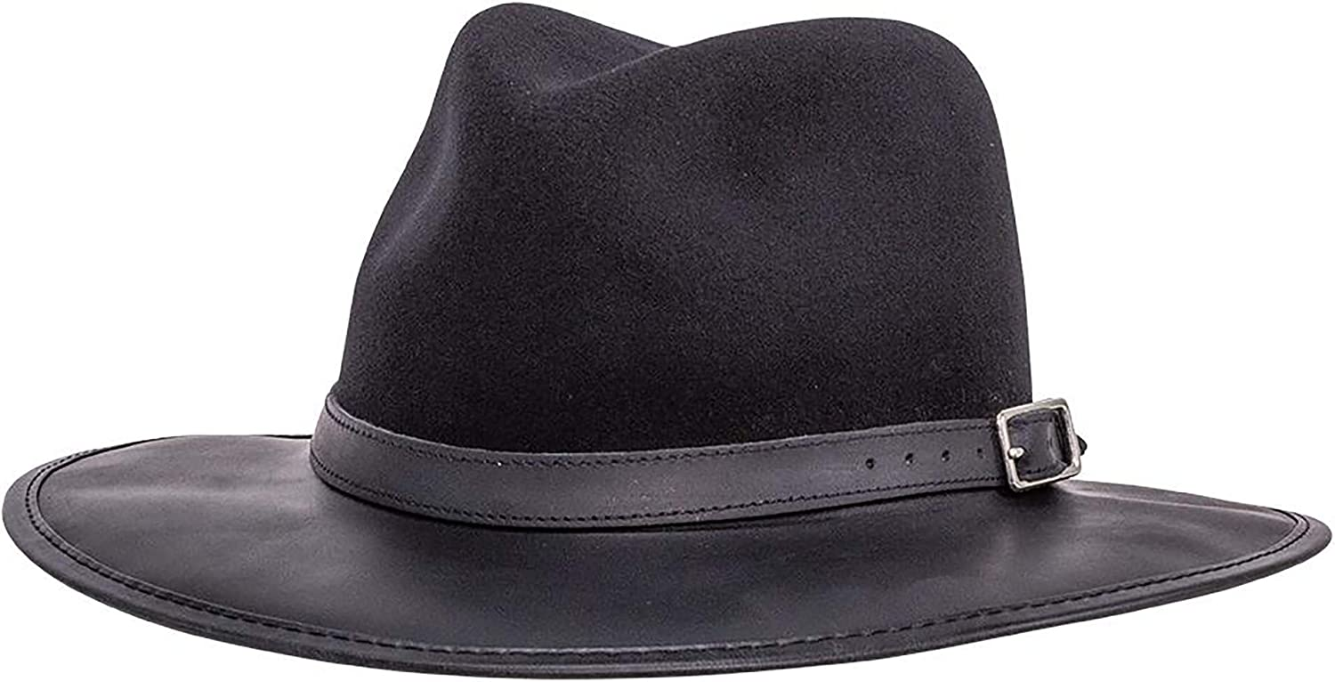 American Hat Sale item Makers Summit Felt Leather — Fedora and 2021 autumn winter new Handcrafted