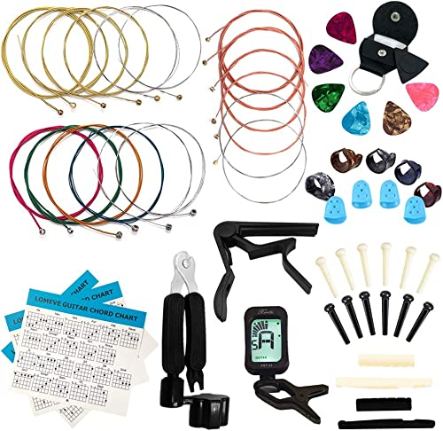LOMEVE Guitar Accessories Kit Include Acoustic Guitar Strings, Tuner, Capo, 3-in-1 Restring Tool, Picks, Pick Holder,...