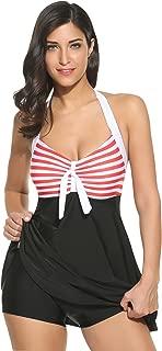 Ekouaer Women Swimsuits One Piece Sexy Bikini Set Print Cross Front Bandage Tankini Swimwear