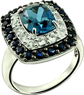 RB Gems Sterling Silver 925 Ring Genuine London Blue Topaz and Blue Sapphire 5.18 Cts with Rhodium-Plated Finish