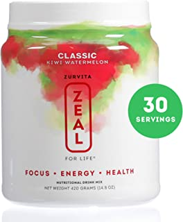 Zurvita Zeal for Life 30 Day Wellness Canister, Kiwi Watermelon, 420 Grams | Delicious, Greens Powder Increases Energy and Reduces Environment Stress
