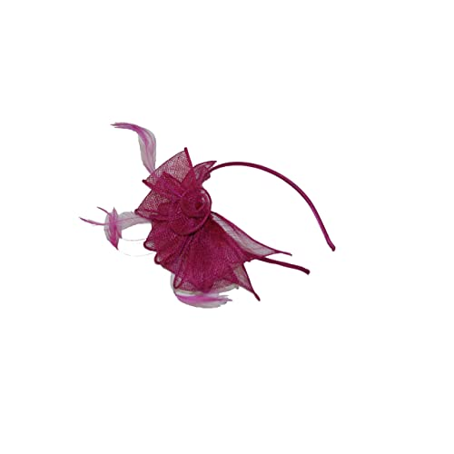 8c295398e4897 GIZZY® Ladies Neat Raspberry Pink Sinamay Flower   Bows Detail Fascinator  on Headband.