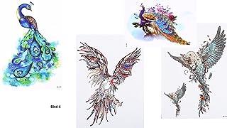 4Sheets Pájaros pavo real Tatuajes Multicolor Flash Tattoo de atracción