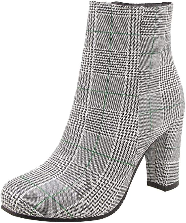 Wallhewb Women's Chunky Retro Boot Skinny Fashion Small Fellow Ankle Heels Comfortable for Women Platform Highten Increasing Joker Brown 8 M US Boot