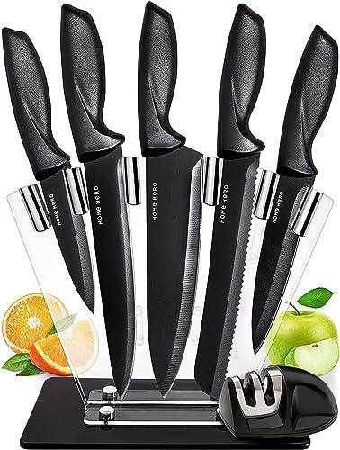 7 Piezas Cuchillos Cocina Profesional - Juego de Cuchillos de Cocina Acero Inoxidable con Acrílico Soporte Cuchillos ...