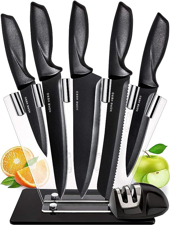 8844 opinioni per Set Coltelli Da Cucina Professionali- 7 Pezzi Acciaio Inossidabile Nero Coltello