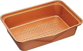 MasterClass Smart-Sartén antiadherente de cerámica (tamaño grande), Acabado en cobre, 41.5 x 31.5 cm