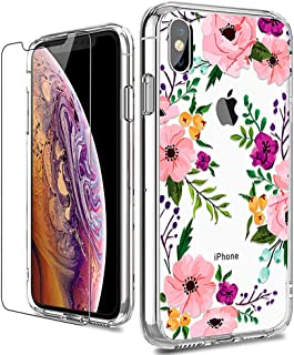 iPhone X Case, LUHOURI Clear iPhone X/Xs Case with Glass Screen Protector, Girls Women Floral Heavy Duty Protective Hard PC Back Case with Ultra-Thin Shockproof Slim TPU Bumper 10 Case 5.8-inch