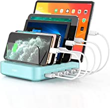 Charging Station, Vogek 5-Port 50W 10A USB Charging Station for Multiple Devices with 8 Short Mixed Cables for Cell Phones...