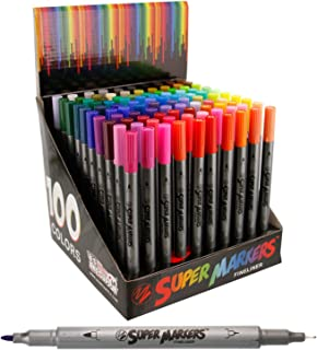 Super Markers 100 Unique Colors Fineliner Twin Tip Marker Set-.7mm Fineliner Tip & 3.0mm Fine Writer Tip Markers with 100 Vibrant and Bold Colors - 100% Satisfaction Guarantee